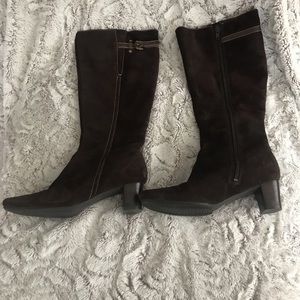 Women's Ecco size 6 brown suede knee high boots